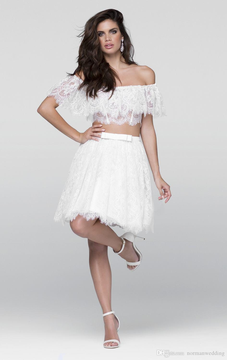 Cheap Modern White Two Homecoming Dresses 2017 Short Prom Dress ...