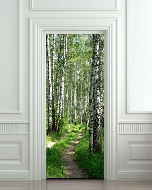 DIY 3D Wall Sticker Mural Bedroom Home Decor Poster wood trees forest way DOOR WRAP Removable Door Sticker decole 77*200cm