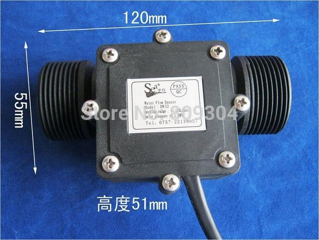 """Wholesale- DN32 1.25"""" Industrial water flow meter,Hall Flow sensor, Flow Counter 1-120L/min"""