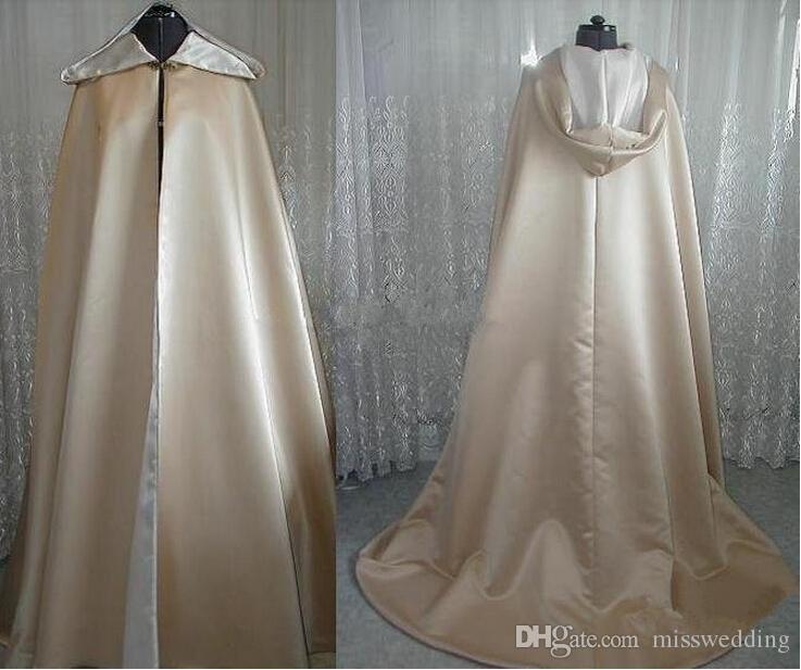 Vintage Design Supérieur Qualité Champagne Satin Satiné Capuche longue longueur à capuchon pour la mariée de mariage Cape d'hiver