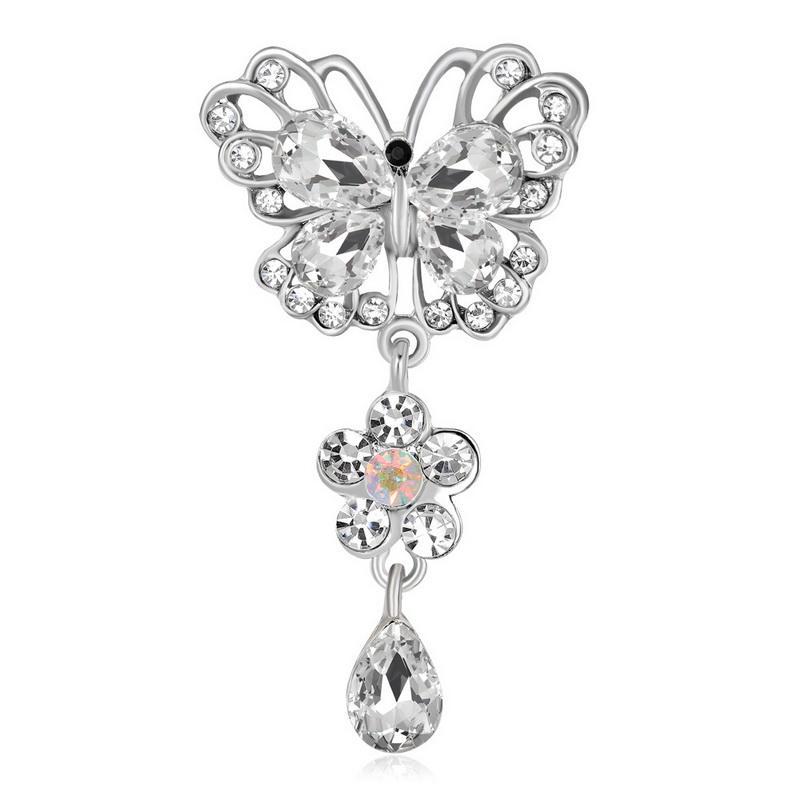 Nuovo arrivo argento antico colore vintage spilla spilla di cristallo gioielli spille di strass per il regalo di Natale femminile