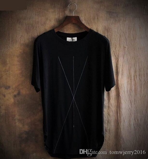 Лето уличная нерегулярные линии вышивка Мужская одежда плюс размер мужской свободные большой О-образным вырезом футболки человек топы тис 2 цвета SML XL 2XL 3XL
