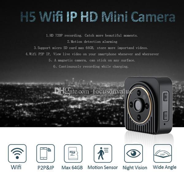 H5 Wifi Wearable IP Camera 720P HD 150 Degree wide angle lens Mini Camera Wireless P2P Body Camera Night Vision Mini DV camcorder