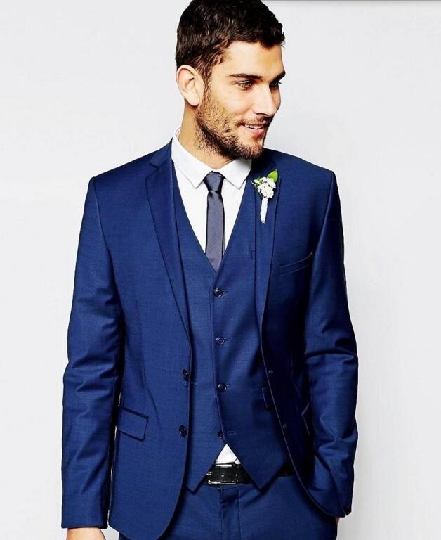 Son erkekler takım elbise Yakışıklı Damat smokin tek göğüslü Çentikli Yaka Damat Smokin İyi Adam Suits (Ceket + Pantolon + yelek)