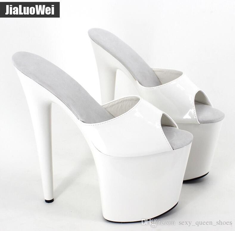 2018 YENI Kadın Terlik Seksi Fetich Egzotik 20 cm Aşırı Yüksek Spike Topuklu 9 cm Platformu Ayakkabı Peep Toe Yaz Topuklar Beyaz Sandalet slaytlar