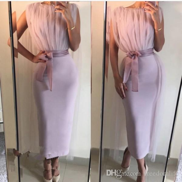 Lavender Ankle Length Evening Dresses High Neck Women Formal arty Dress 2017 New Arrival Straight Arabic Cocktail Gown Abiye Kaftan
