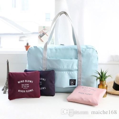 10 pcs Women 's Folding portátil impermeável saco de grande capacidade Travel Bag pode definir carrinho de bagagem