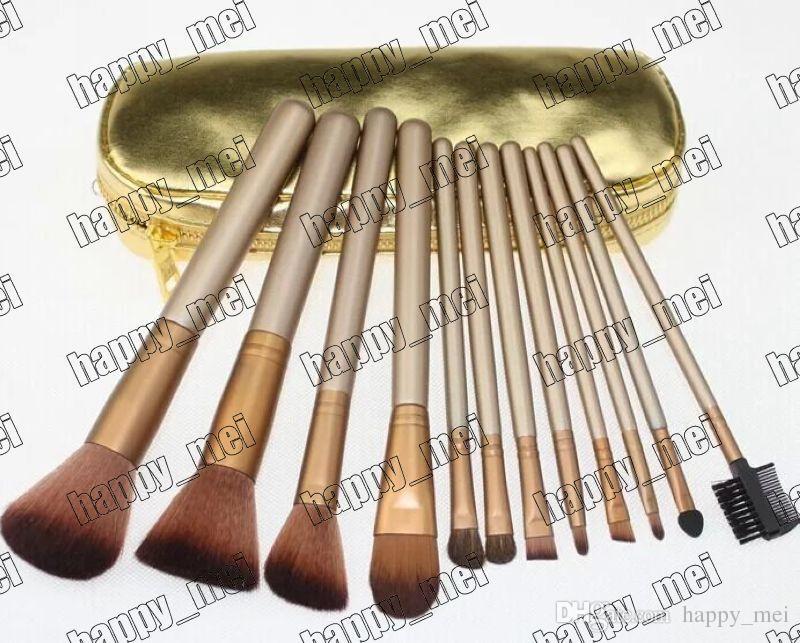 Fabriks direkt DHL Gratis frakt Nya Makeup Tools Tillbehör Makeup Brushes 12 stycken Brush med guld Läderpåse!