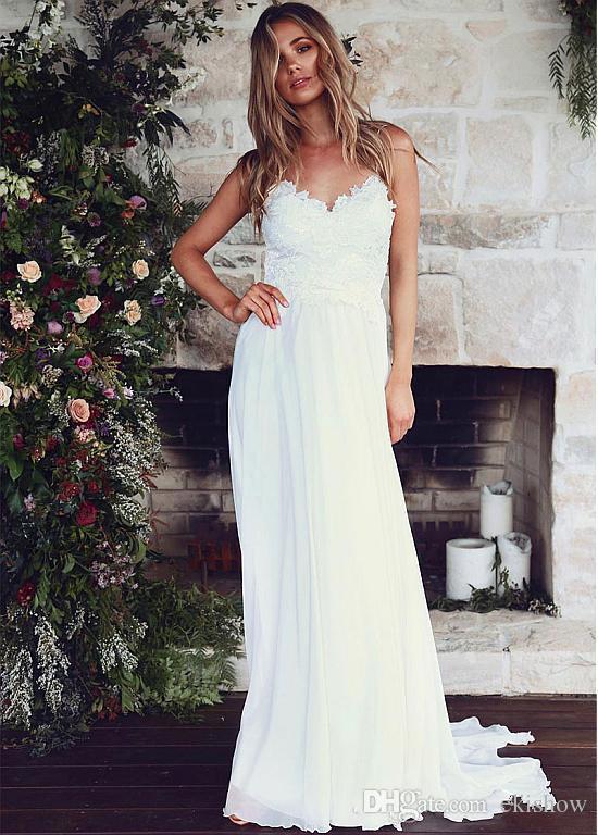 2017 New Arrival Summer Chiffon Romantic Bohemian Wedding Dresses Spaghetti Straps Lace Appliqued Floor Length Beach Bridal Gowns