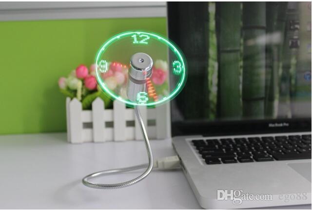 LED USB Fan Clock Mini Flexible Time with LED Light