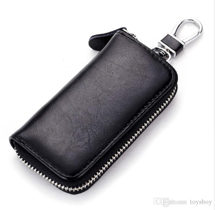Cow Leather Men & Women Car Key Bag Wallet Multi Function Key Case Fashion Housekeeper Holders 6 Key Rings