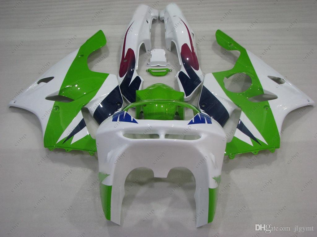 Carrozzerie Ninja Zx-6r 1994 Body Kits 636 Zx-6r 96 97 White Green Plastic Carene Zx6r 1996 1994 - 1997
