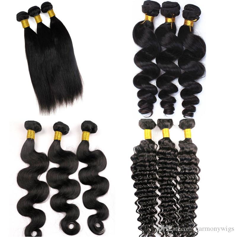 Capelli vergini tesse le trame brasiliane dei pacchi dei capelli umani 100% estensioni peruviane non tessute indiane cambogiane malesi dei capelli umani di tessitura