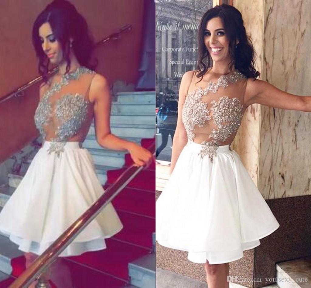 Cheap White Short Prom Dresses Jewel