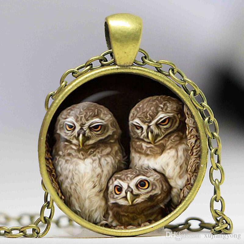 Free shipping Owl's family Pendant Round owl necklace Bird Jewelry accessories Art Pendant Gift for couples glass dome cabochon