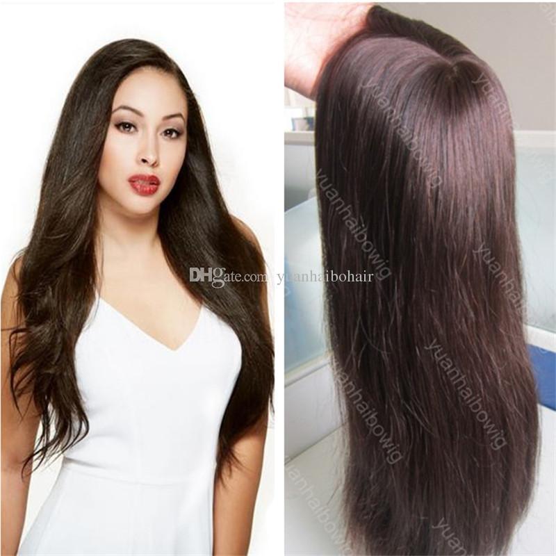 Top Quality Dark Brown 2 Mongolian Straight Virgin Hair Silk Base Jewish Wigs Best Sheitels Free Shipping