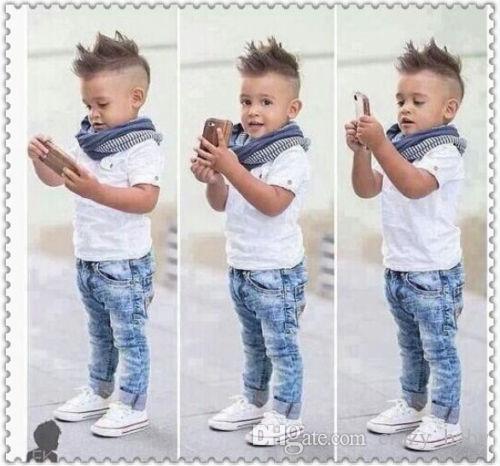 3 Stücke Kleinkind Baby Jungen Kleid T-shirt + Schal + Jeans Set Kinder Kleidung Outfits