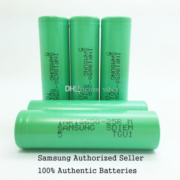 Bateria autêntica de 2500mah 18650INR 25R M 18650 com relatório de MSDS da bateria de lítio de Samsung - baterias recarregáveis de 2500mah 20A para 18650 Ecig