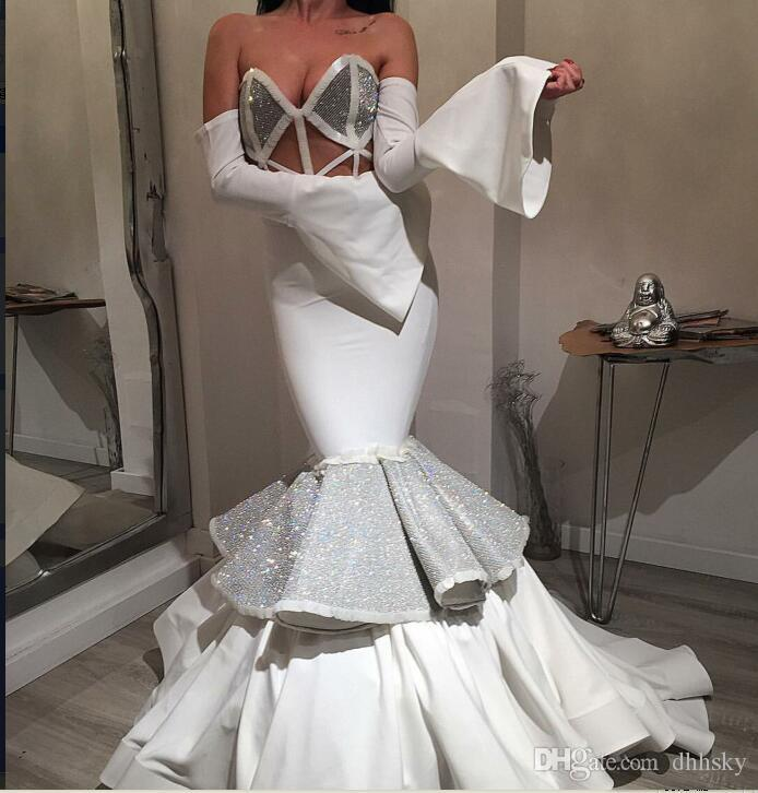 Вечернее платье Yousef aljasmi Kim kardashian с длинным рукавом без бретелек Кристалл Русалка длинные Almoda gianninaazar ZuhLair murad Ziadnakad 0061
