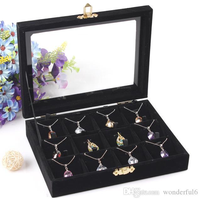 Scatola di immagazzinaggio dei monili di alta qualità Collana pendenti Collana portacandele dell'orecchino Accessori per gioielli Vetrina con coperchio in vetro