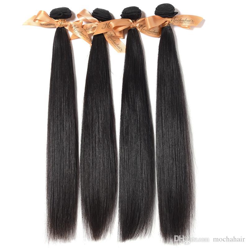 """Mezclado 2pcs / lot 200 g de pelo liso brasileño virginal, onda, 12 """"14"""" 16 """"18"""" 20 """"22"""" 24 """"26"""", color natural puede ser teñido Sin derramamiento de enredos"""