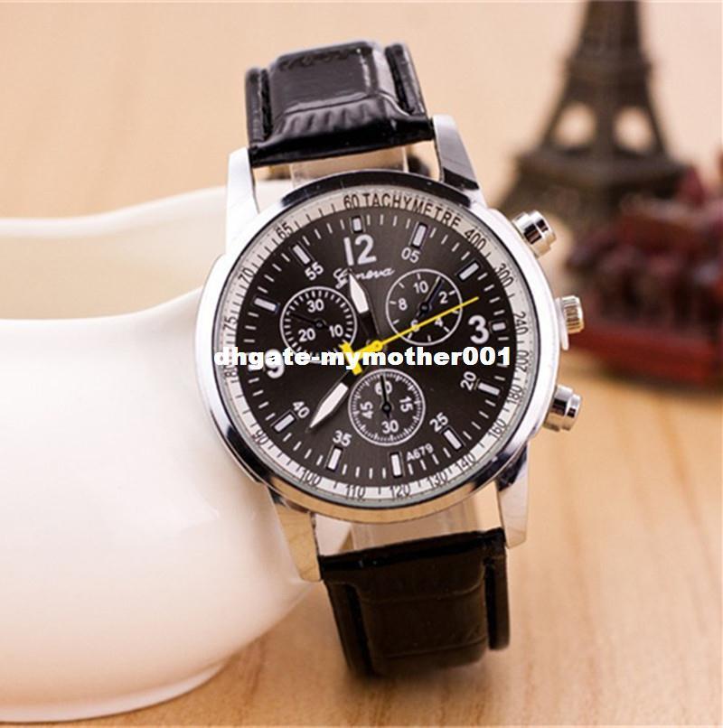 2015 Nuevo reloj de moda para hombres Ginebra Correa de cuero Reloj de pulsera Estilo británico Reloj de negocios Reloj de cuarzo masculino Relogio masculino