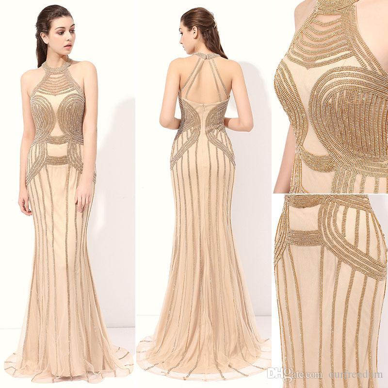 Élégant Halter Designer Robes Occasion 2019 Bling Bling Paillettes Perlée Soirée De Poisson Soirée Pageant Robes Pour Filles Femmes Haute Qualité