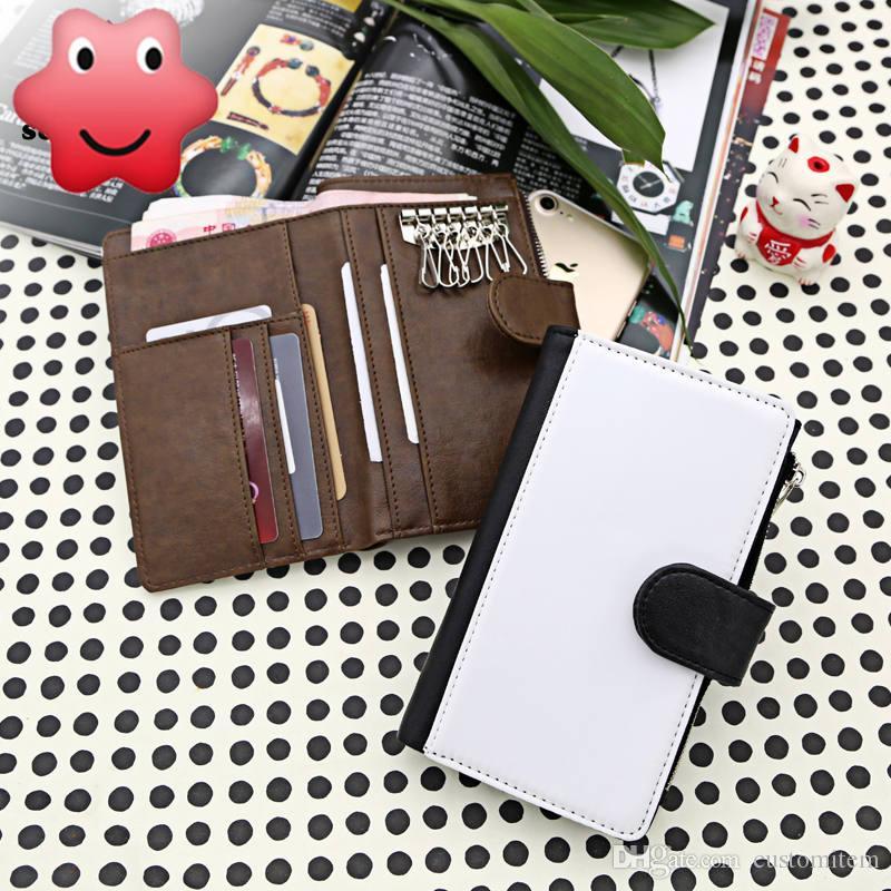 caso di portafoglio chiave in bianco per sublimazione stampa a trasferimento termico pu grande portafoglio della borsa per i consumabili per uomo materiale all'ingrosso creativo fai da te
