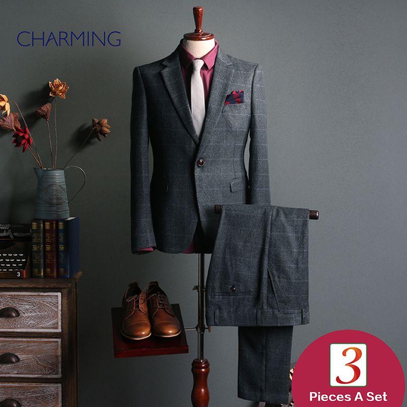 Ternos de negócio para homens Cinza Mens Plaid terno de Duas peças sui t design sui t calça paletó Mens terno moda Formal terno de casamento