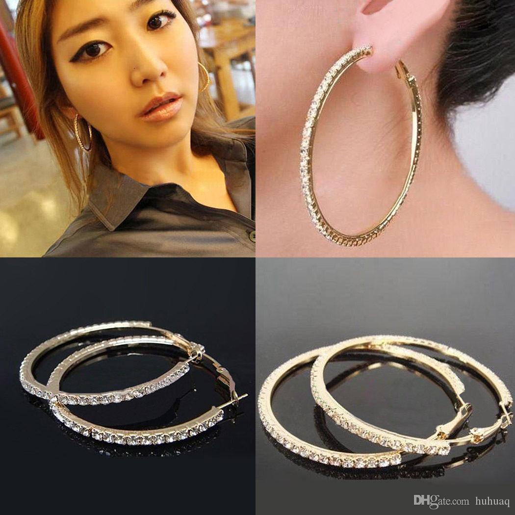 Mode Crystal Earring Studded Hoop Oorbellen Valentijnsdag Gold Earring Sieraden Voor Party Color Hoop 30mm ~ 70mm