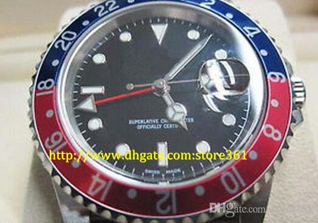 montres automatiques store361 nouvelle arrivée Top montres automatique de haute qualité pour hommes GMT II acier inoxydable Pepsi 40mm, série 16700 Z