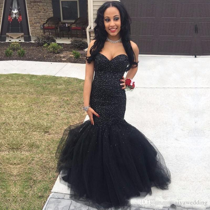 2019 New Sexy 2k18 Evening Dresses Sweetheart Mermaid Long Floor Length Black Crystal Beaded Tulle Prom Dress Party Pageant Formal Gowns