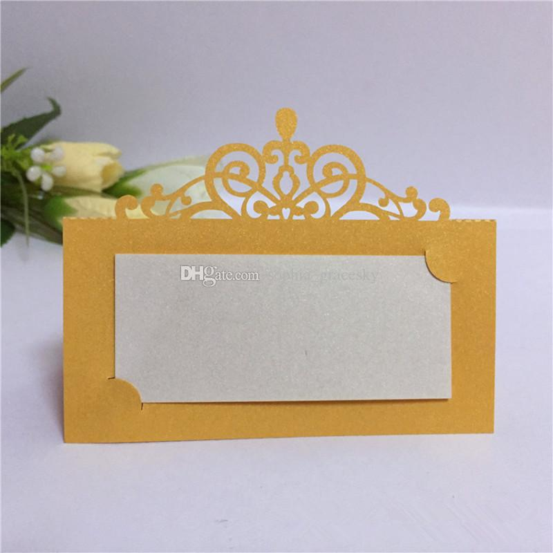 50pcs/lot Free Shippinvg New Laser Cut Paper Place Seat Name Invitation Cards elegant Crwon Design for party supplies