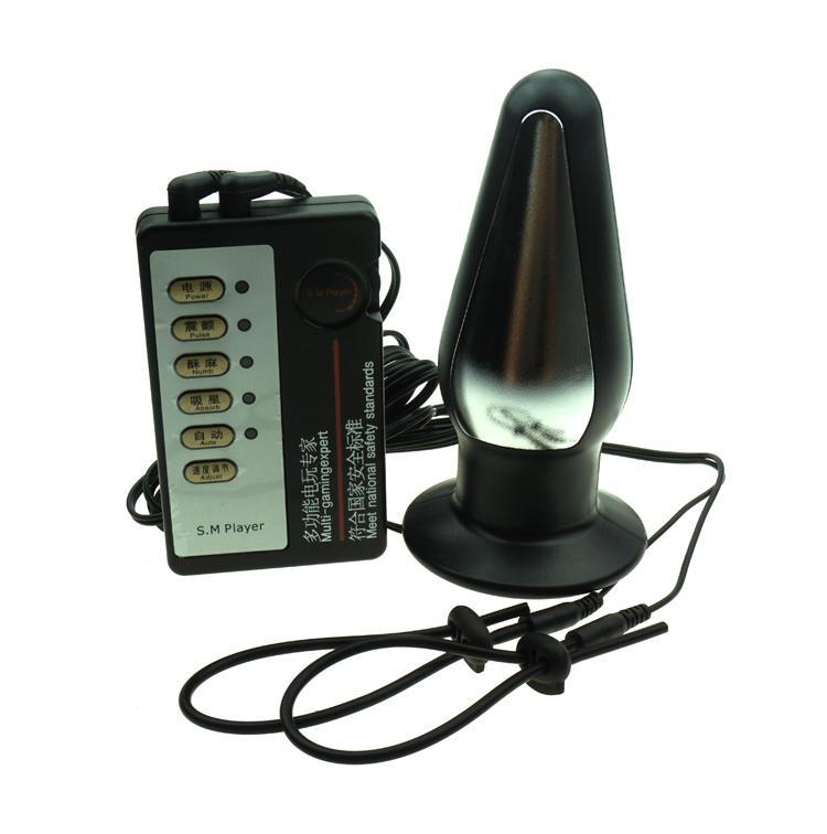 Eletro Choque de Silicone Ajustável Anel Penis Grande Plugue Anal Atraso Ejaculação Cockring Penis Estimulador Chastity Sex Toys para Homens q0511