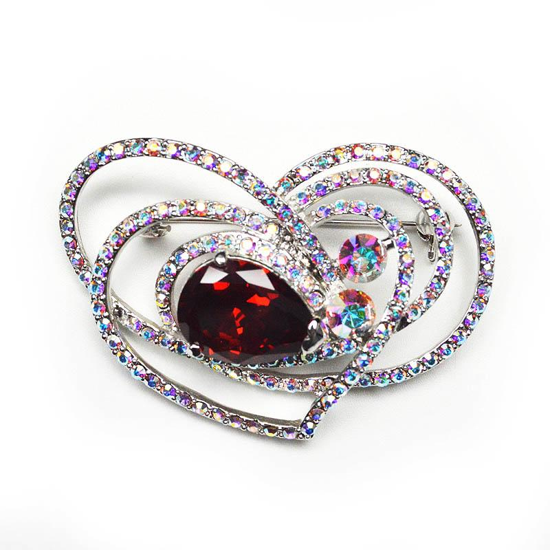 CINDY XIANG Rhinestone Red Heart Brooches Fashion Dress Suit Women
