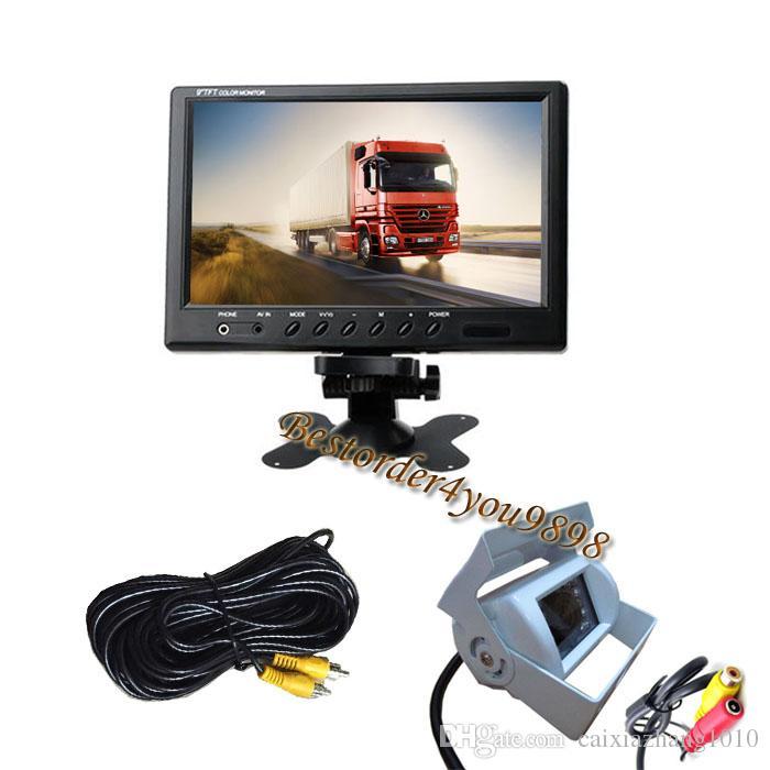 """Weiß 18 LED IR-Umkehrkamera wasserdicht + 9 """"LCD-Monitor-Fahrzeug-Rückansicht-Kit für Buswagen 10m Kabel"""