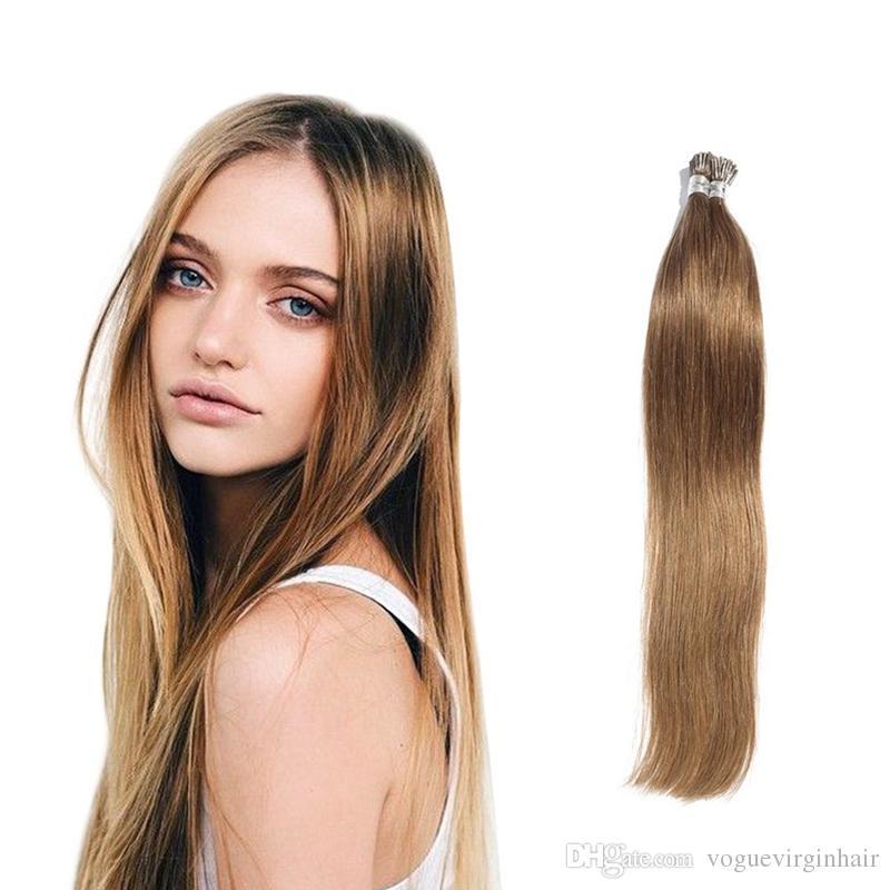 Ön gümrüklü I-ucu Saç Uzantıları Perulu İnsan Saç Keratin Fusion Vogue Saç Uzantıları 13 renk Mevcut 0.5g / strand