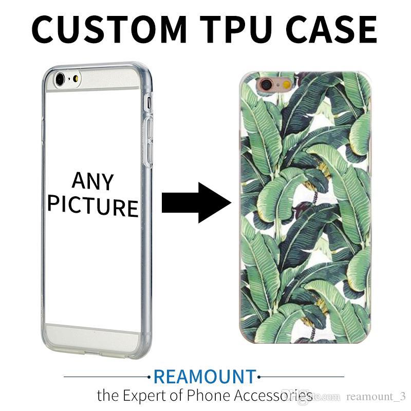 100pcs Custom Design DIY Transparente TPU Case Cover For iPhone 7 plus 6s 5s 7 6plus Customized Printing Cell Phone Case