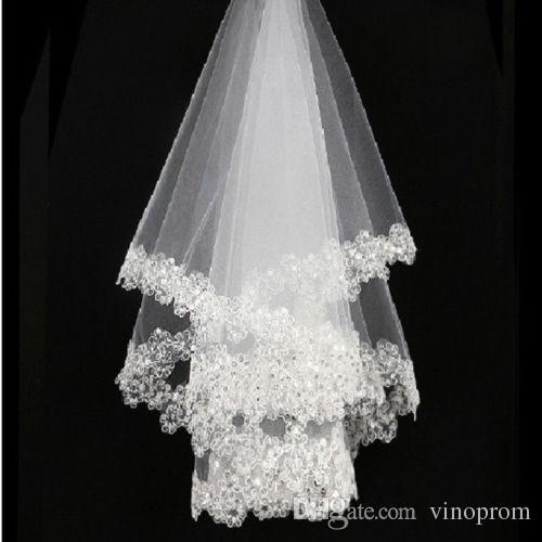 Nuovo arrivo 1layer bianco Sl nuziale paillettes da sposa paillettes velo da sposa in pizzo paillettes bordo senza pettine