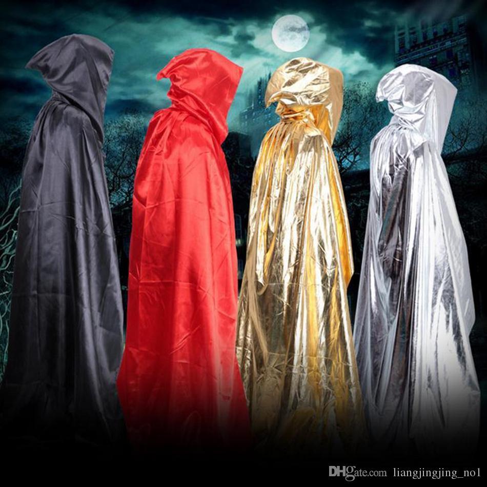 Feiticeiro Morte Manto Trajes de Halloween Halloween Teatro Cosplay Prop Morte Com Capuz Manto Manto do Diabo Adulto Com Capuz Cabo OOA2346