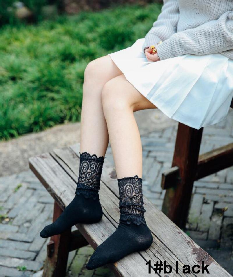 socken lose spitze weiß schwarz grace baumwolle für dame mädchen frauen weiblich