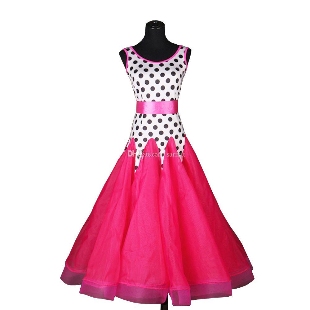 Standard Ballroom Dress Ballroom Dance Competition Dresses Waltz Dress Tango D0188 White with Dot Waist Belt Big Sheer Hem