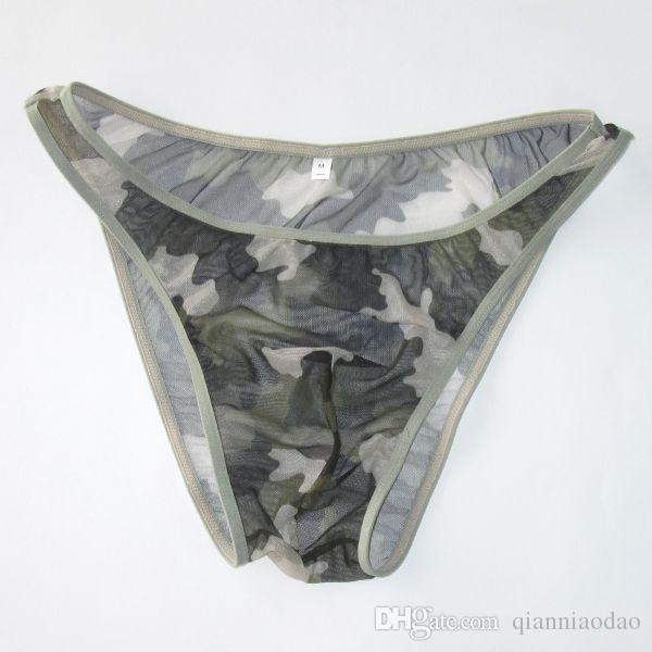 1fa70711a3fa 2019 Mens Brazilian Tanga Bikini Narrow Waist Printed Fashional Panties  G773 Front Pouch Moderate Back Camo Green From Qianniaodao, $5.89    DHgate.Com