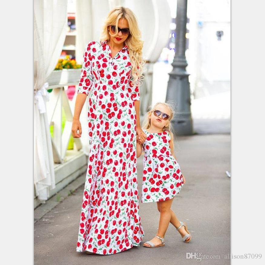 2bb9d37abd60 Mother And Daughter Clothes Maxi Dress V Neck Autumn Women Dresses Cherry  Prints Girls Dress 2017 European Matching Mommy And Daughter Outfits Parent  ...