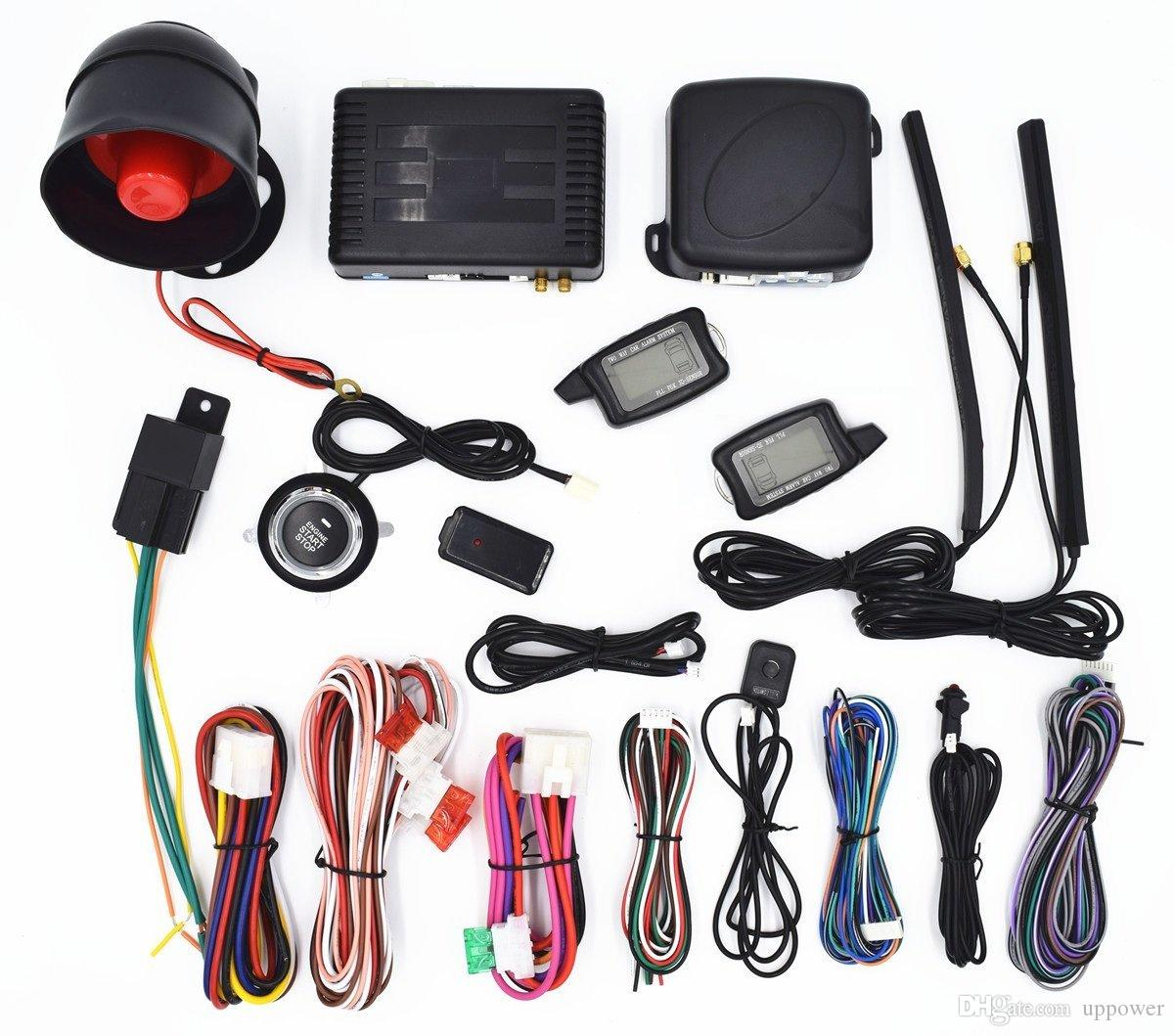 CarBest Vehicle Security Paging Car Alarm 2 Way LCD | Push Engine Start Stop Button | Passive Keyless Entry(PKE) | 3300B