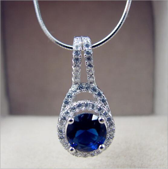 Fashion Vintage 2CT sona simulato taglio princess collana pendente di nozze per le donne, catena in argento sterling 925