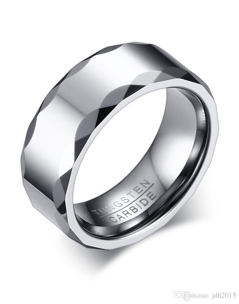 Grabado libre de 8 mm de altura pulida tungsteno anillo de carburo para hombre banda de boda con borde facetado