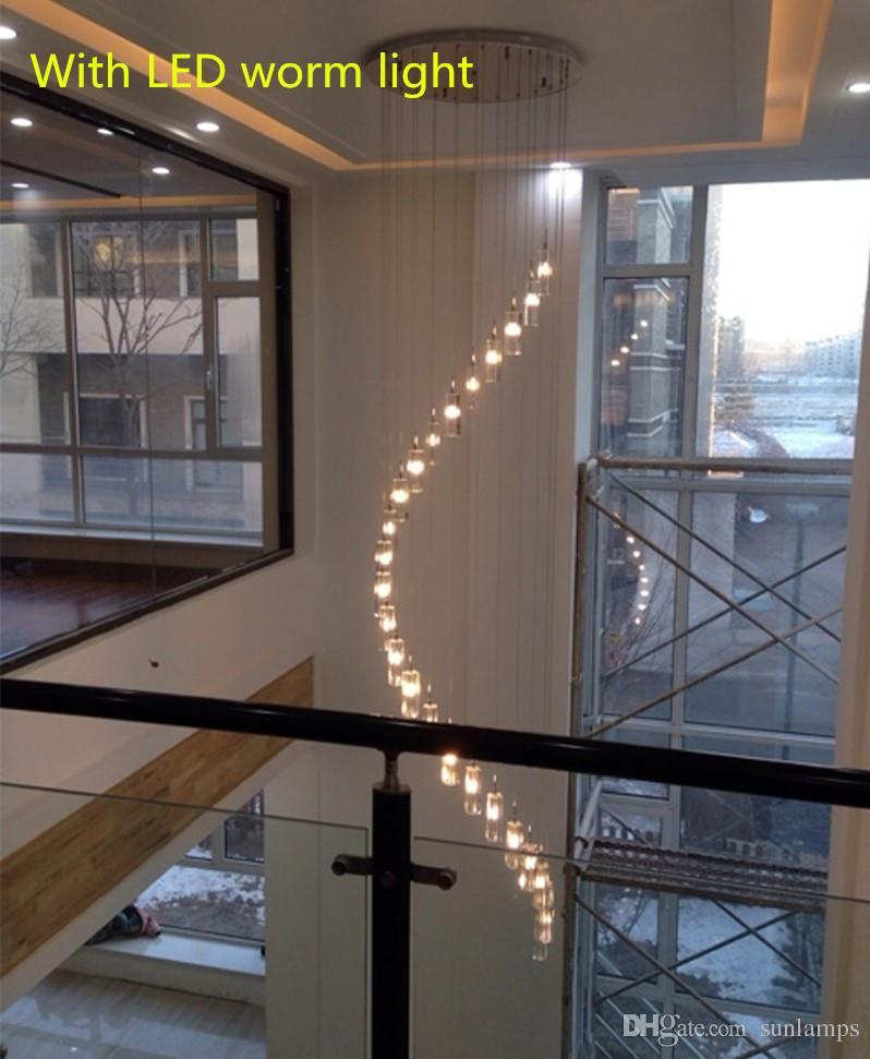 Penthouse 15-25 pcs K9 Crystal pendant Light G4 Led Ceiling fixture large Modern hanging Chandelier for Living Room spiral stair lighting