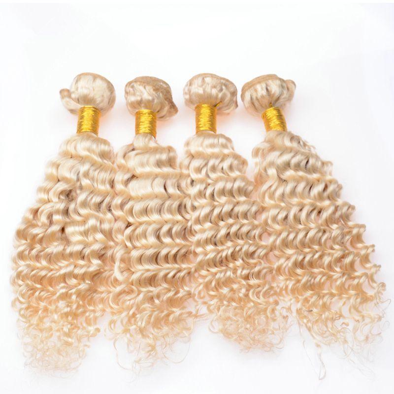# 613 Bleach Blonde Jungfrau Peruanisches Menschliches Haar Wefts Extensions Tiefe Welle Wellig Blonde Jungfrau Remy Menschliche Haarwebart Bundles 4 Stücke Lot
