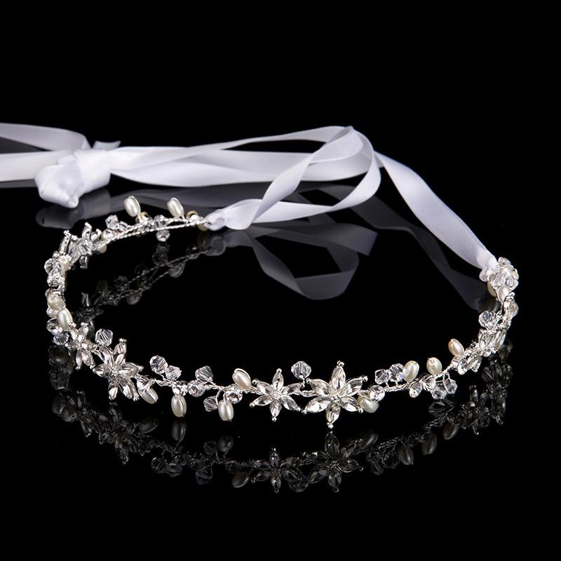 Hot Brilliant Headdress Wedding Headband Retro Bride Hair Accessories Pearls Crystal Bouquets Collection Ribbon Hairwear Jewelry